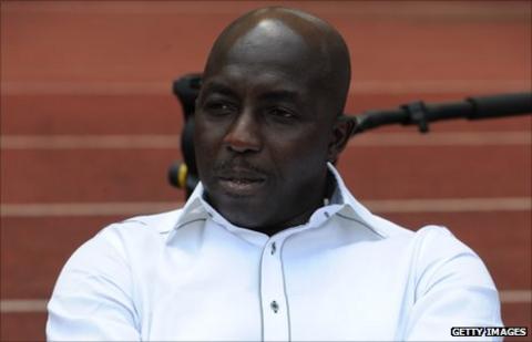 Samson Siasia watches Nigeria in action against Guinea