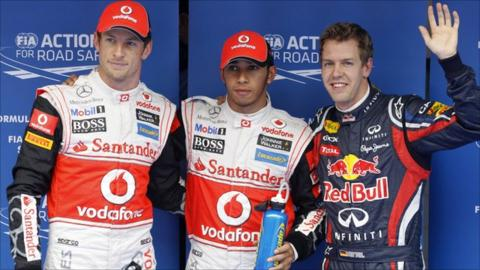 Jenson Button, Lewis Hamilton and Sebastian Vettel