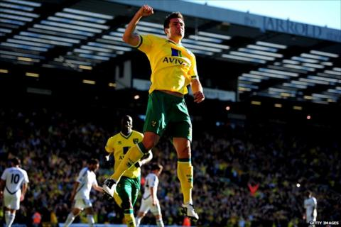 Russell Martin celebrates for Norwich