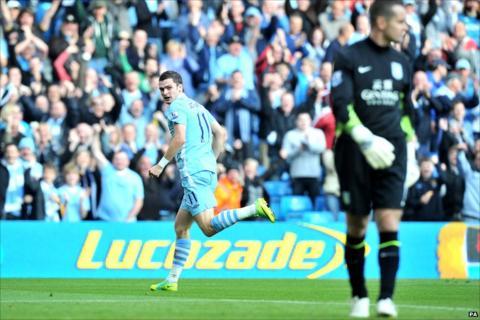 Adam Johnson scores for Man City