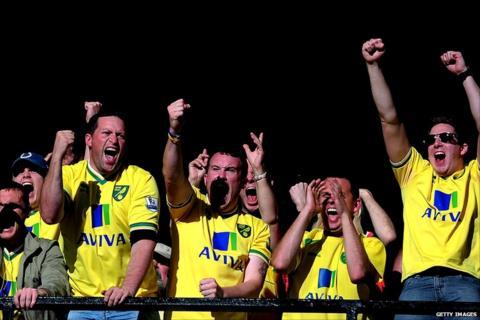 Norwich fans enjoy their team's win