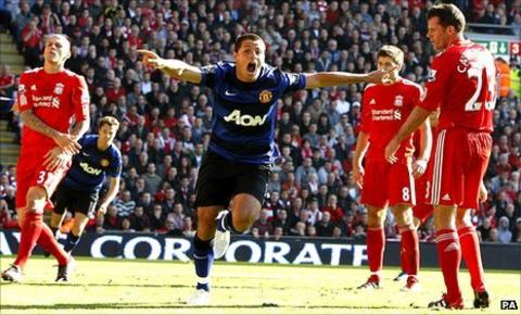 Javier Hernandez scores Manchester United's equaliser