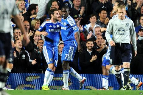 Ramires celebrates with provider Juan Mata