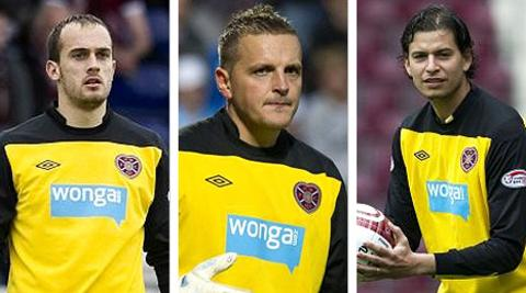 Hearts goalkeepers Jamie MacDonald, Marian Kello and Janos Balogh