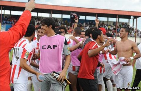 Wydad Casablanca players in Aba, Nigeria