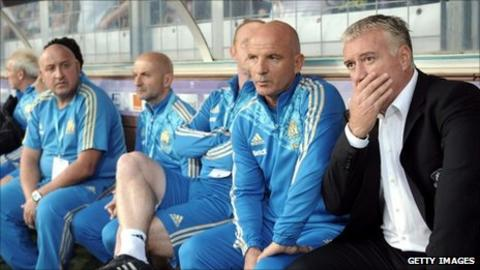 Marseille manager Didier Deschamps (right) watches his team at Toulouse
