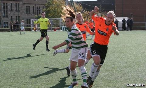Celtic's Suzanne Grant and Glasgow City's Eilish McSorley