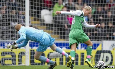 Leigh Griffiths takes the ball from Craig Samson to open the scoring
