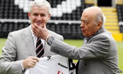 Mark Hughes and Fulham chairman Mohamed Al Fayed