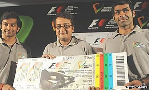 Karun Chandhok (right) and Narain Karthikeyan (left) help promote the Indian Grand Prix