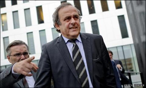 Michel Platini leaves the Swiss court