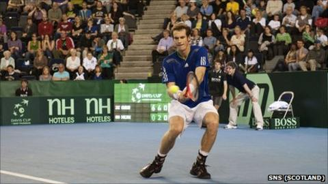 Andy Murray in Davis Cup action at Braehead