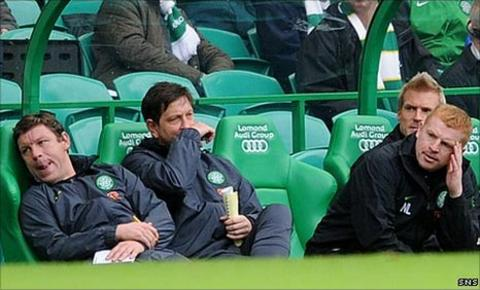 The Celtic bench looks frustrated