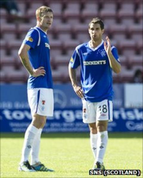 Rangers defenders Dorin Goian and Carlos Bocanegra
