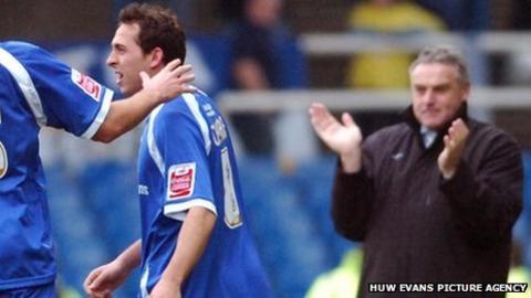 Former Cardiff striker Michael Chopra and manager Dave Jones