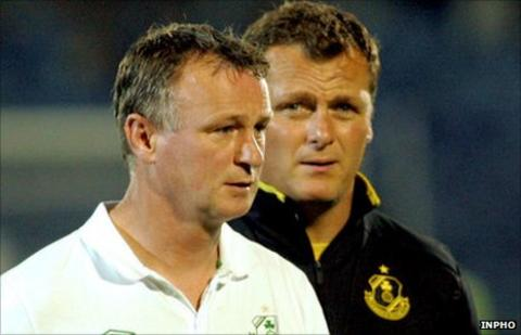 Michael O'Neill (left) and Jim Magilton