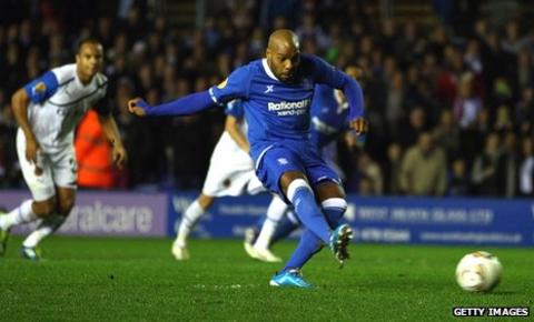 Marlon King scores from the penalty spot for Birmingham
