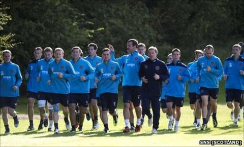 Hearts players in training