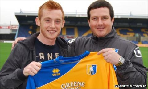 Nick Hegarty with Mansfield boss Paul Cox