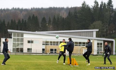 Celtic's goalkeepers go through their paces at Lennoxtown training complex