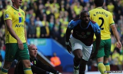 Darren Bent scores his first goal in the win over Norwich City