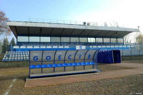 The away dugout at Hutnik Municipality Stadium in Krakow, Poland