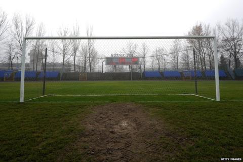 A goal at Hutnik Municipality Stadium in Krakow, Poland