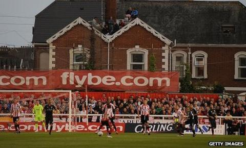 Exeter's St James Road away end can only hold just over 1,000 fans