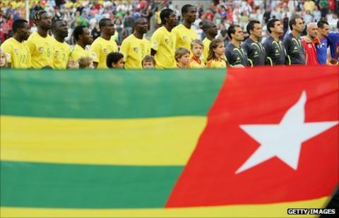 Togo line up for their 2006 World Cup encounter against France