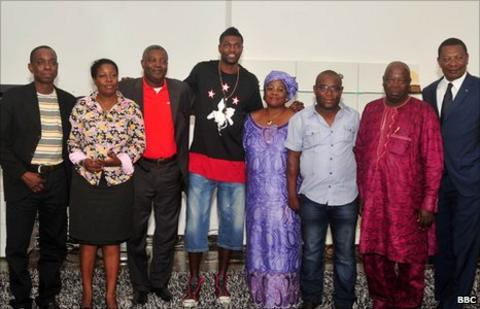Emmanuel Adebayor and Togo officials