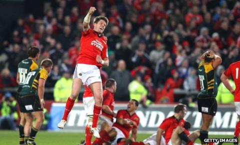 Ronan O'Gara's injury-time drop-goal clinched victory for Munster