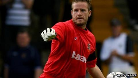 Newport County goalkeeper Danny Potter