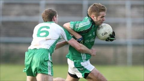 Ciaran McGovern and Liam Lynch in action at Brewster Park