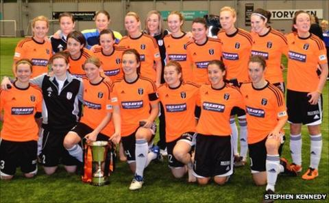 Glasgow City pose with the Scottish Cup