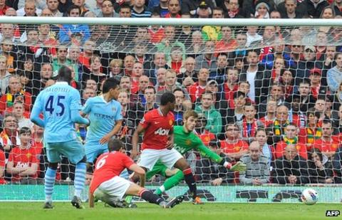 Mario Balotelli scores against Manchester United