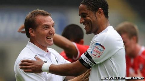 Brendan Rodgers with Ashley Williams