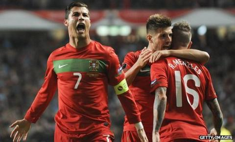 Cristiano Ronaldo scores the opening goal in Portugal's 6-2 win over Bosnia