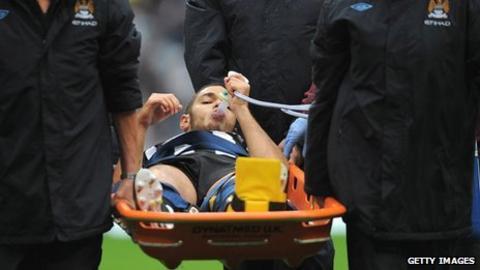 Hatem Ben Arfa on stretcher