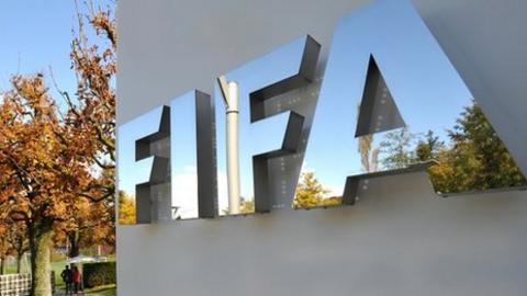 The Fifa logo is seen outside the Fifa headquarters