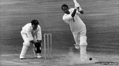 Basil D'Oliveira batting for England at the Oval in 1968