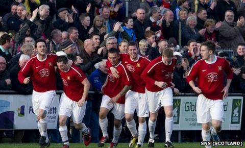 Culter celebrate their equaliser against Partick Thistle