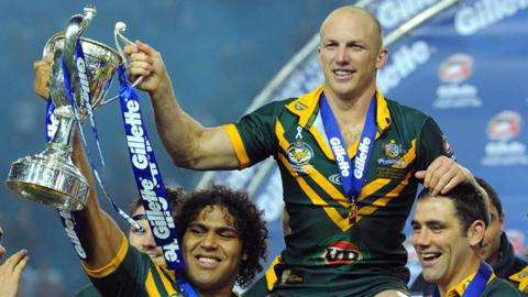 Australia celebrate victory in the Four Nations final