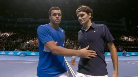 Jo-Wilfried Tsonga (left) v Roger Federer