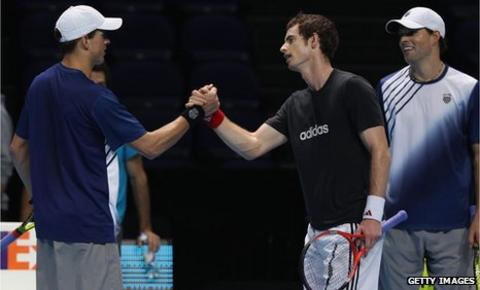 Andy Murray with the Bryan brothers, Mike and Bob