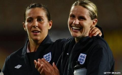Fara Williams (left) with Kelly Smith