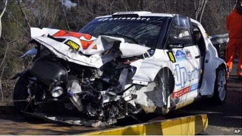The wrecked rally car of F1 driver Robert Kubica