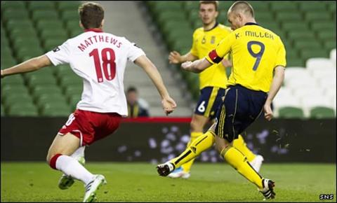 Kenny Miller scores against Wales