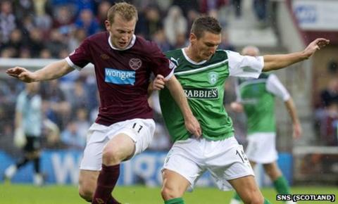 Hearts winger Andrew Driver and Hibernian midfielder Martin Scott