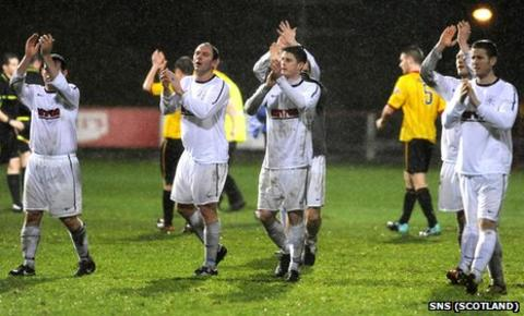 Culter players applaud their fans