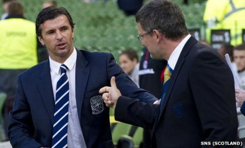 Gary Speed and Craig Levein (right) at May's Carling Nations Cup match in Dublin